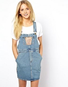 ASOS Cord Patch Denim Overall Dress
