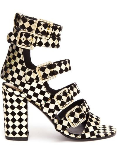 Art Dana Harlequin Printed Leather and Suede Sanda