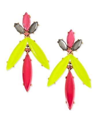 Marquise Resin Drop Clip-On Earrings, Pink/Yellow/Multi