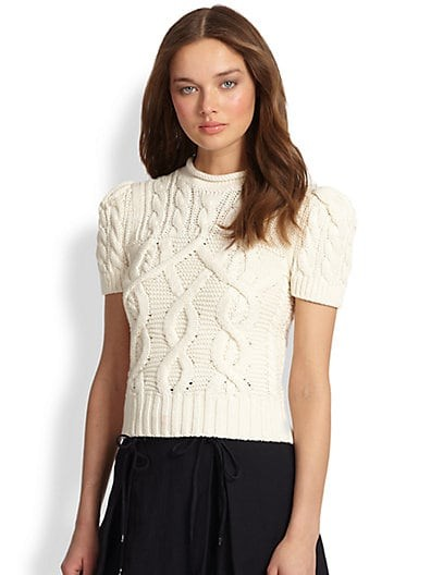 Short-Sleeve Cable-Knit Pullover