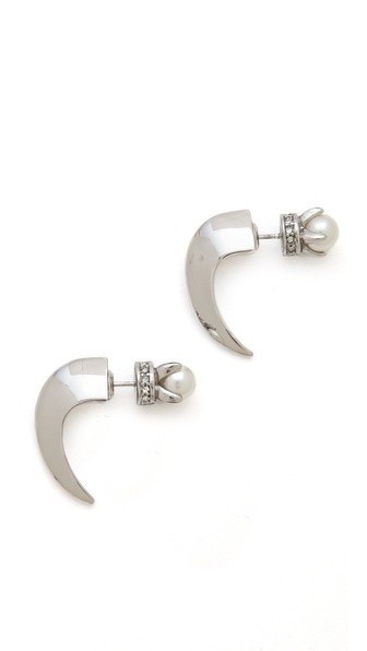 Curbs Front Back Stud Earrings