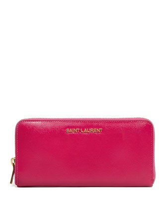 Logo-Letter Zip-Around Continental Wallet, Fuchsia - Saint Laurent