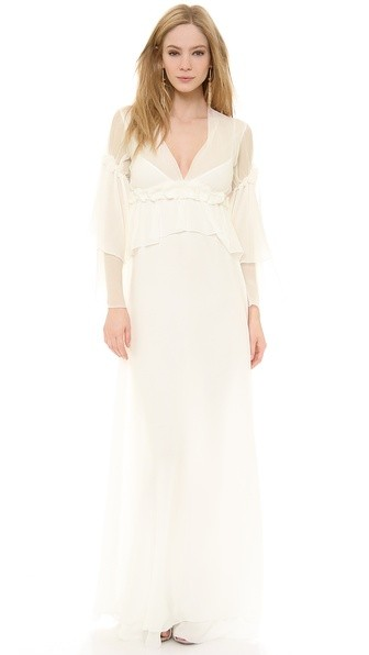 Long Sleeve Chiffon Gown