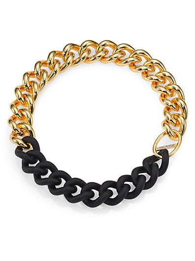 Rubber & White Topaz Bauhaus Curb Link Necklace