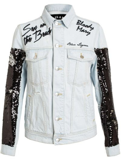 Embroidered and Sequin Denim Jacket