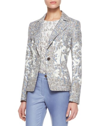 Brocade Cotton Blazer, Sky - Escada