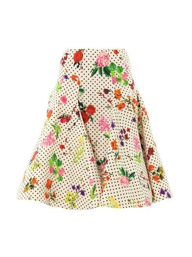 Polka-dot and floral-print skirt