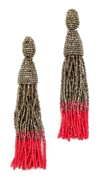 Ombre Tassel Clip On Earrings