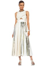 Foil Print Poly Pleated Cloque in White & Silver