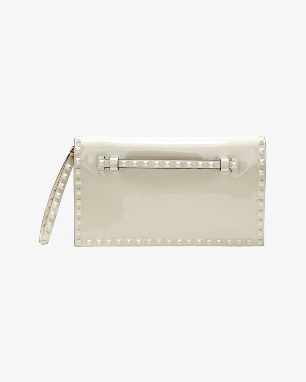 Valentino Rockstud Patent Leather Foldover Wristlet Clutch: Ivory