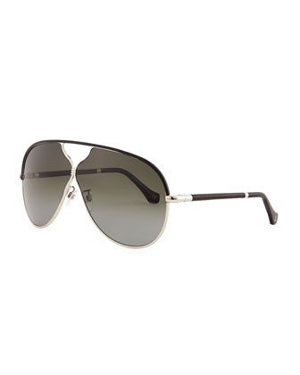 Aviator Sunglasses, Rose Gold/Black Leather - Balenciaga