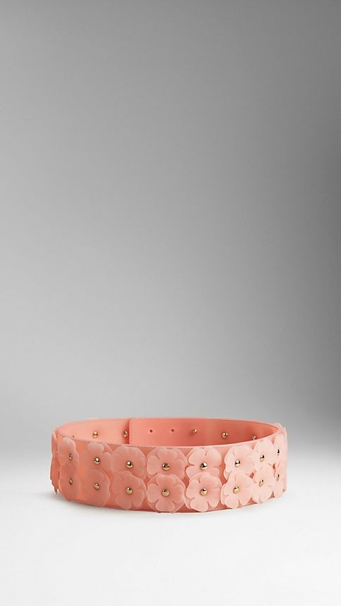Flower-Embellished Vinyl Belt