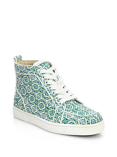 Rantus Woven Leather High-Top Sneakers