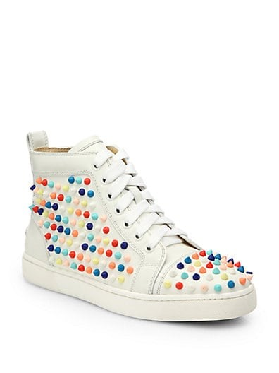 Louis Woman Studded Leather Wedge Sneakers