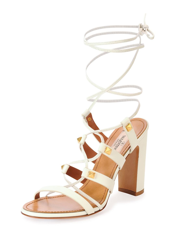 Rockstud High-Heel Gladiator Sandal, Light Ivory - Valentino - Lt ivory (35.0B/5.0B)
