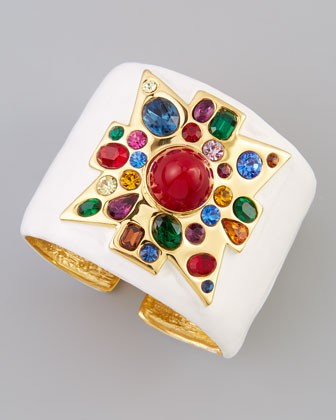Wide Enamel-Fill Golden Cuff, White/Red - Kenneth Jay Lane