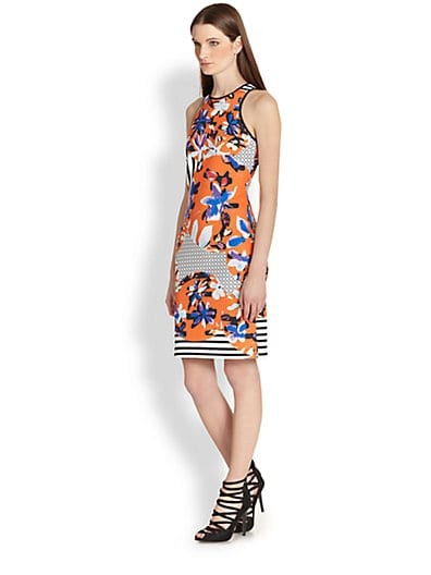 Floral-Print Neoprene Racerback Dress