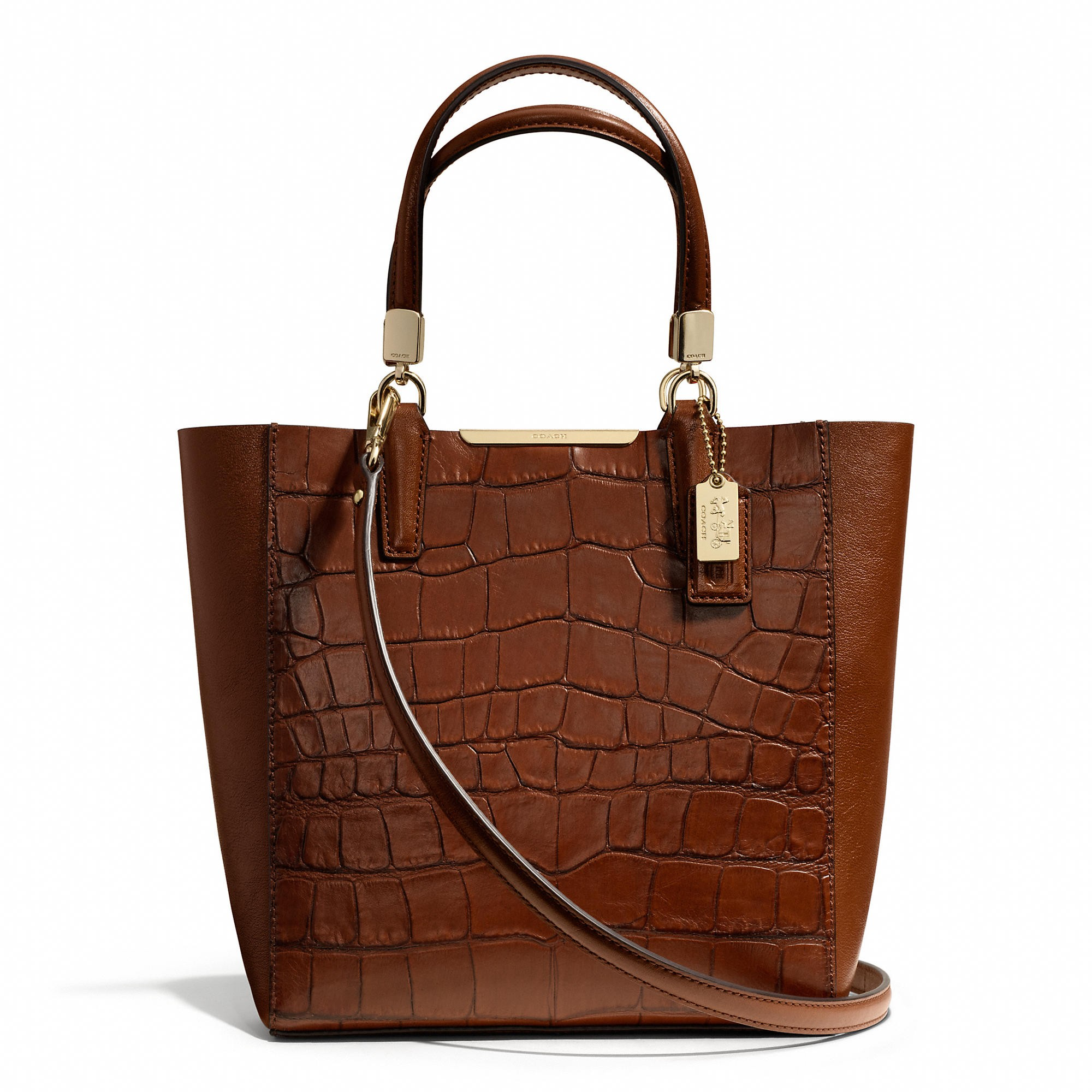 MADISON MINI NORTH/SOUTH BONDED TOTE IN CROC EMBOSSED LEATHER