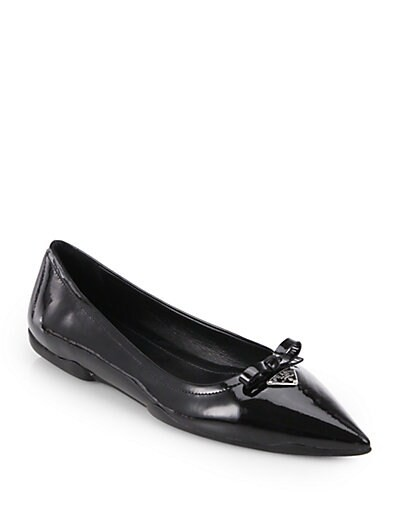 Patent Leather Point-Toe Ballet Flats