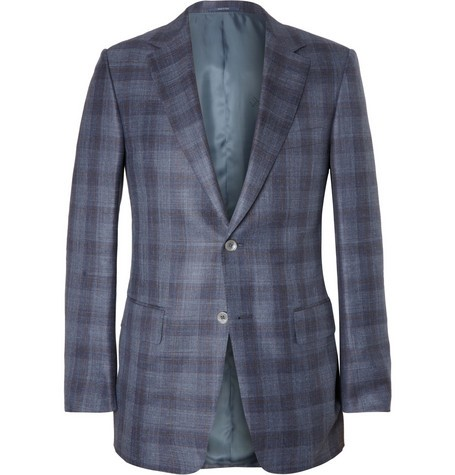 Damien Slim-Fit Check Wool and Silk-Blend Blazer