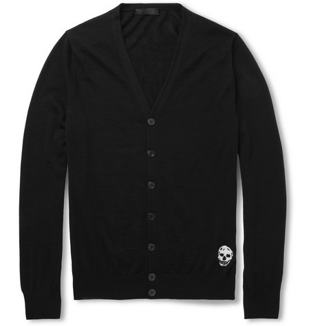 Skull-Patterned Cashmere Cardigan