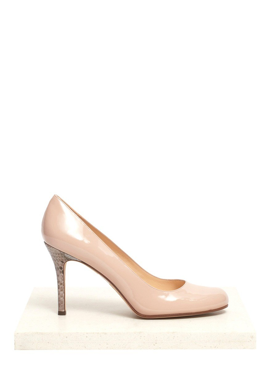 Karolina snakeskin-heel patent-leather pumps