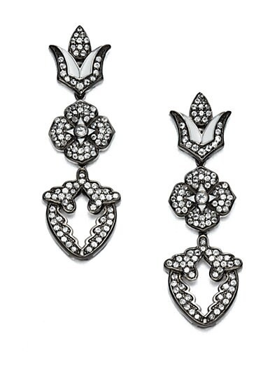 Jeweled Sterling Silver Floral Earrings