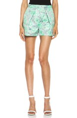 Brocade Poly-Blend Shorts in Turquoise
