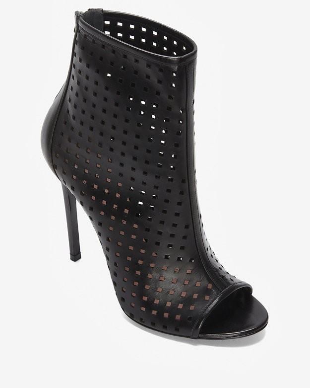 SALE 		 	Barbara Bui Perforated Open Toe Bootie: Black