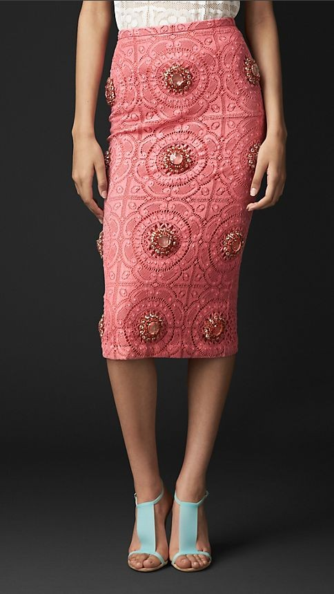 Gem Embellished English Lace Skirt