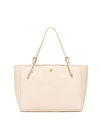 York Saffiano Leather Tote Bag, Light Oak - Tory Burch
