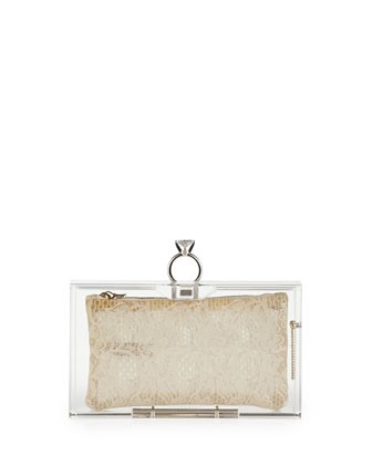 Pandora Marry Me Box Clutch, Clear - Charlotte Olympia