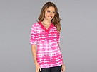 Jones New York - Tie Dye Lace V-Neck Top (Fuchsia Crush Combo) - Apparel