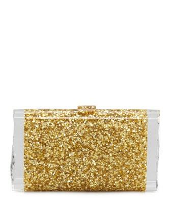 Lara Confetti Clutch Bag, Gold - Edie Parker