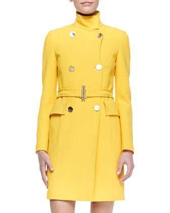 Double-Breasted Belted Coat, Yellow - Versace Collection