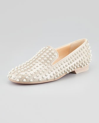 Rolling Spikes Red Sole Smoking Slipper, Beige - Christian Louboutin