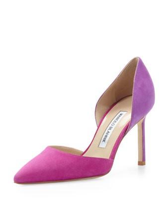 Tayler Bicolor Suede d'Orsay, Fuchsia/Purple - Manolo Blahnik