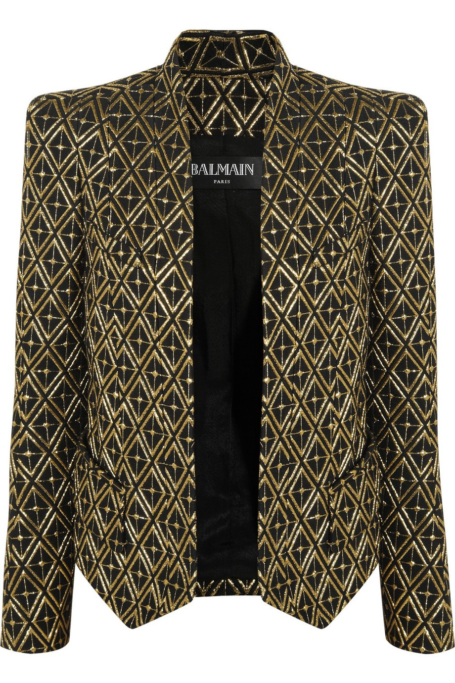 Metallic embroidered twill blazer