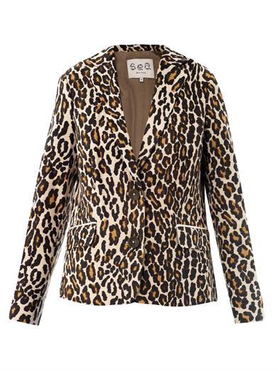 Leopard-print cotton blazer