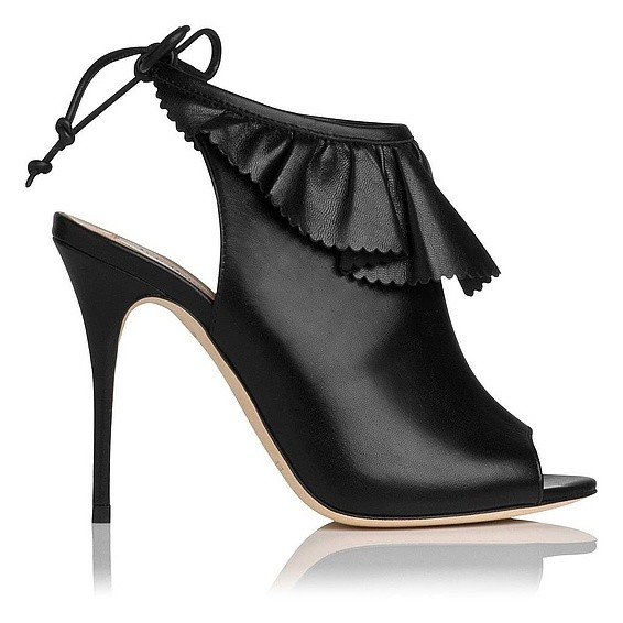 Riley Leather Ruffle Detail Peep Toe Shoe Boot