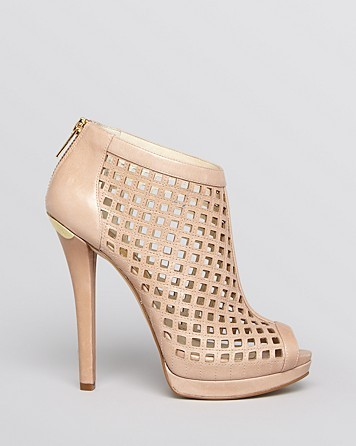 MICHAEL Michael Kors Peep Toe Platform Caged Booties Graham High Heel