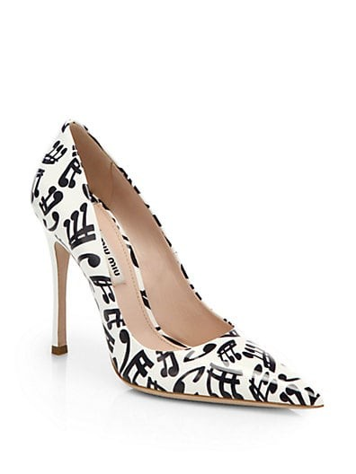 Music Note-Print Patent Leather Pumps