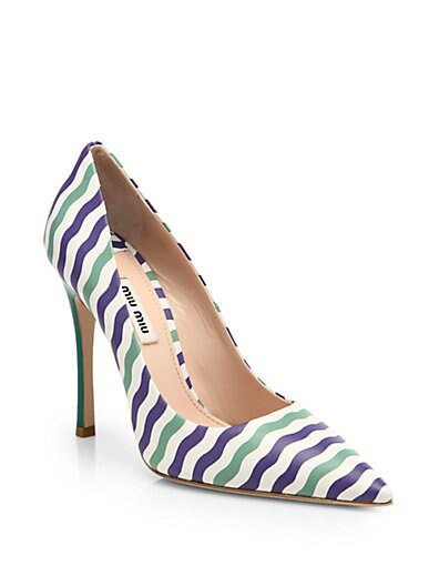 Striped Leather Pumps