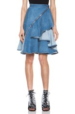 Stone Washed Denim Ruffle Skirt in Blue