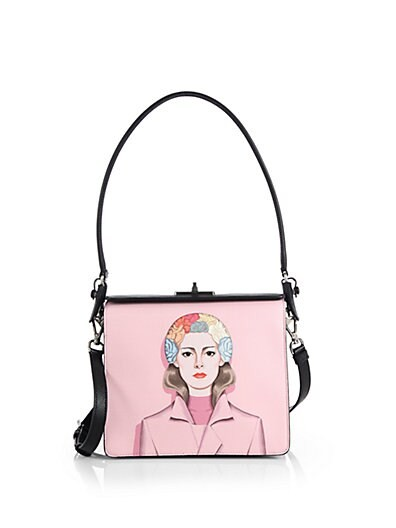 Saffiano Face-Printed Crossbody Bag