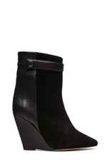 Purdey Calfskin Velvet & Leather Booties in Black