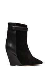 Purdey Calfskin Velvet & Leather Booties in Black