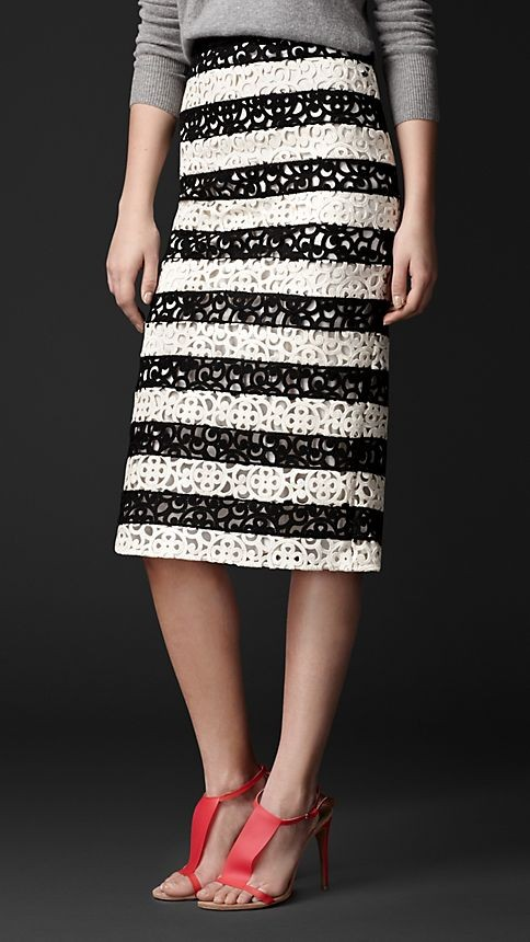 Striped Macramé Lace Pencil Skirt