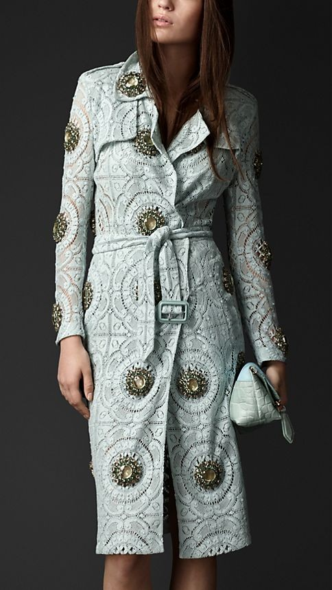 Gem-Embellished Lace Trench Coat