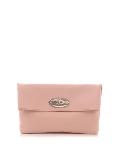 Clemmie leather fold-over clutch